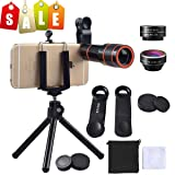 Cell Phone Camera Zoom Lens Kit, EZVING 4 in 1 HD 12X Optical Telescope Zoom Lens Fisheye Wide Angle Macro Lens w/Universal Clip Tripod iPhone 6/7/6s Plus,Samsung,Google,LG and Other Smart Phones (Color: 12x Telescope+fisheye+marco+wide Angle(b), Tamaño: 12X)