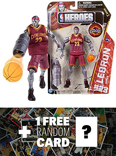 LeBron James - Cleveland Cavaliers #23: NBA Heroes Action Figure Series + 1 FREE Official NBA Trading Card Bundle
