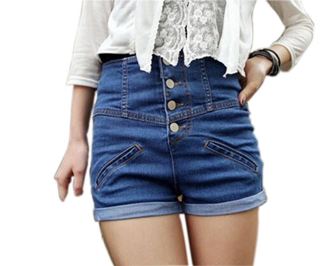 Sefon Womens Vintage Single Breasted High Waisted Jeans Shorts 0