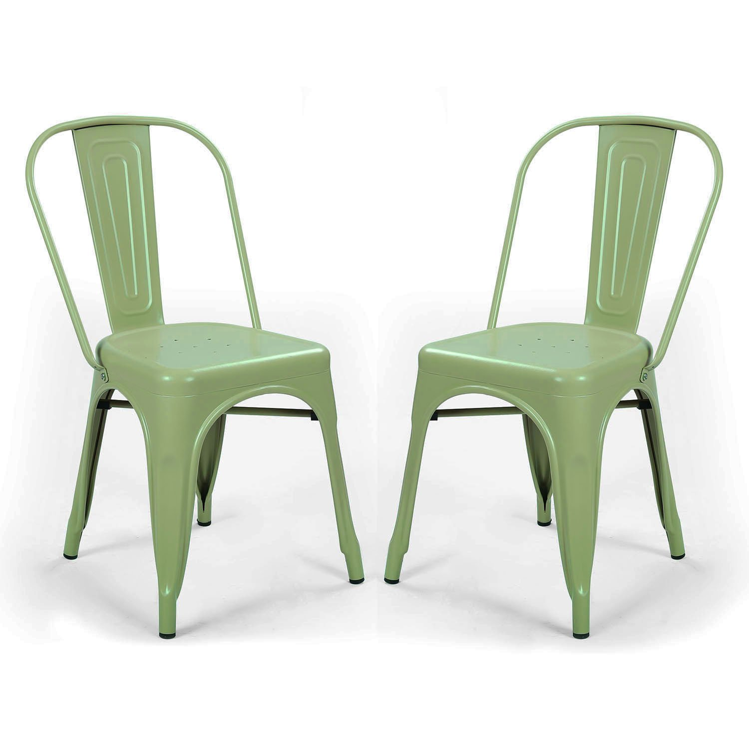 Adeco metal stackable industrial chic dining bistro cafe side chairs - Adeco Metal Stackable Industrial Chic Dining Bistro Cafe Side Chairs Outdoor And Indoor Green Set Of 2