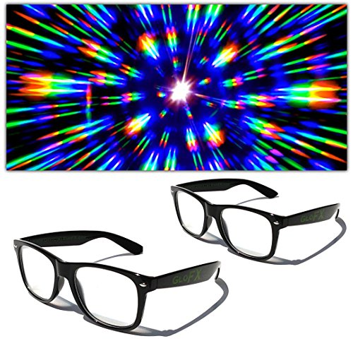 2X GloFX Ultimate Diffraction Prism Glasses - Black (2 Pack) Light Diffracting Firework Glasses
