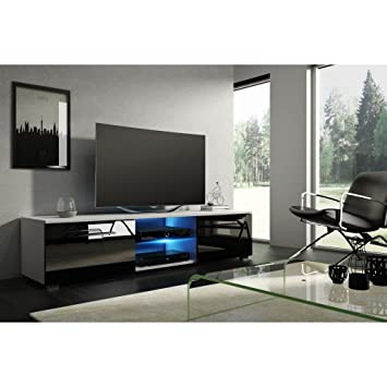 Sonesta – Miami – Mueble TV contemporáneo blanco y negro brillante + LED