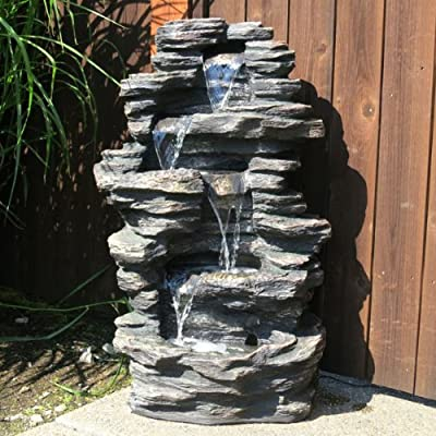 Price Comparisons For 39 Rock Waterfall Garden Fountain W Led Lights Garden Fountains Cheap