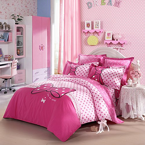 Luxury Dream Bowknot 100% Cotton 300TC 4-Piece Bedding Set 1x Duvet Cover 1x Fitted Sheet 2x Shams Pink Full