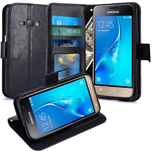 J1 2016 Case, Galaxy Amp 2 Case, Galaxy Express 3 Case, LK Luxury Wallet PU Leather Case Flip Cover with Card Slots & Stand For Samsung Galaxy J1 2016 / Amp 2 / Express 3, BLACK (Galaxy 3 Phone Cases Wallet compare prices)