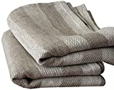 LinenMe Linen Lucas Hand and Guest Towels, 19 by 28-Inch, Natural Striped, Set of 2