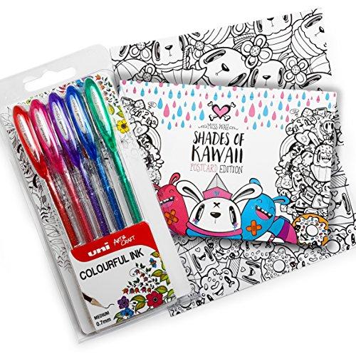 """Esclusivo """"Sfumature di Kawaii Cartolina libro da colorare di Miss Wah-Pedale con Uni-Ball Signo-um-120sp-Portafoglio di 5brillantini Penne"""
