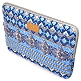 Case Star ® Bohemian Style Canvas Fabric 13-13.3 Inch Laptop Notebook Ultrabook Sleeve Bag Zipper Case for Apple Macbook Pro Retina Macbook Air 13 /13.3-Inch and Most Brands'13-Inch Laptop - HP Dell Toshiba ASUS Sony Lenovo Samsung (Blue Lattice)