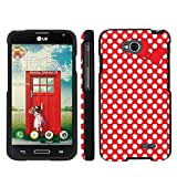 Mobiflare LG Optimus LGl70 L70 Red/White Polk-a-Dots with Bow Slim Guard Protect Artistry Design Case