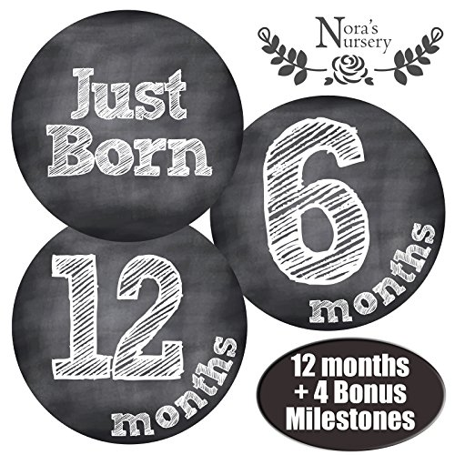 Chalkboard Baby Monthly Stickers - Shower Gift Idea or Scrapbook Photo Keepsake (Lion King Gift Basket compare prices)