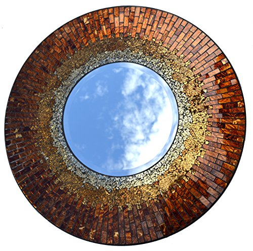 Lulu Decor, Baltic Amber Mosaic Wall Mirror, Decorative Handmade Beveled Round Mirror, Diameter 23.5