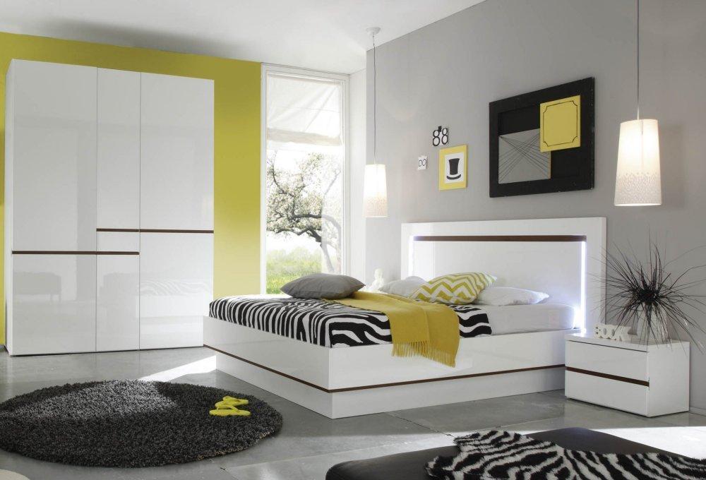 Schlafzimmer, Komplett-Set mit 4-trg. Kleiderschrank in Front: weiss und Fronten: weiss hochglanz kaufen
