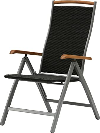 "IB-Style - Sedie con schienale - regolabile ""Diplomat"" BLACKCORD | 3 varianti | argento / blackcord / teak | Sedie da esterno poli rattan salotto Arredamento da esterno sedie con schienale Mobili da gardino 4 pezzi"