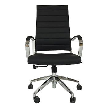 Lo+DeModa Stery Sedia per Ufficio, Acciaio Cromato Poliuretano/Alluminio/Nylon, Ecopelle Nera, 79 x 64 x 24 cm