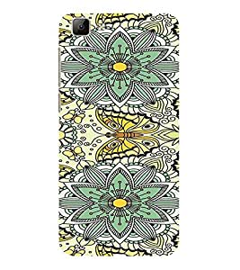 ifasho Animated Pattern colrful flower and butterfly Back Case Cover for VIVO Y35