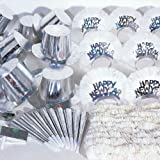 Hoffmaster K10002 60 Piece New Year's Silver Holographic Party Kit for a Party of 20, Assorted Pack (Case of 60)