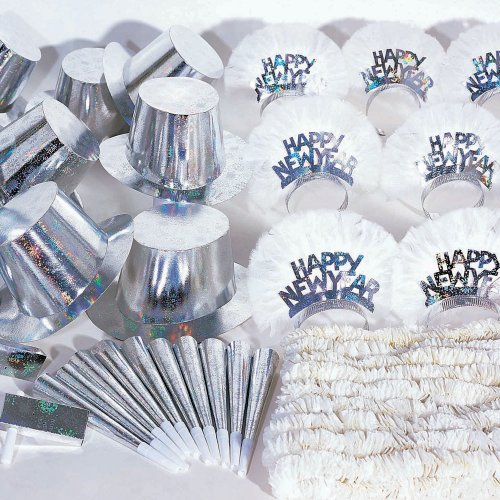 Hoffmaster K10002 60 Piece New Year's Silver Holographic Party Kit, Assorted Pack (Case of 20)