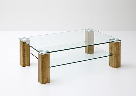 Dreams4Home Couchtisch 'Aront' massiv Glas 110 x 70 cm Asteiche Wohnzimmer