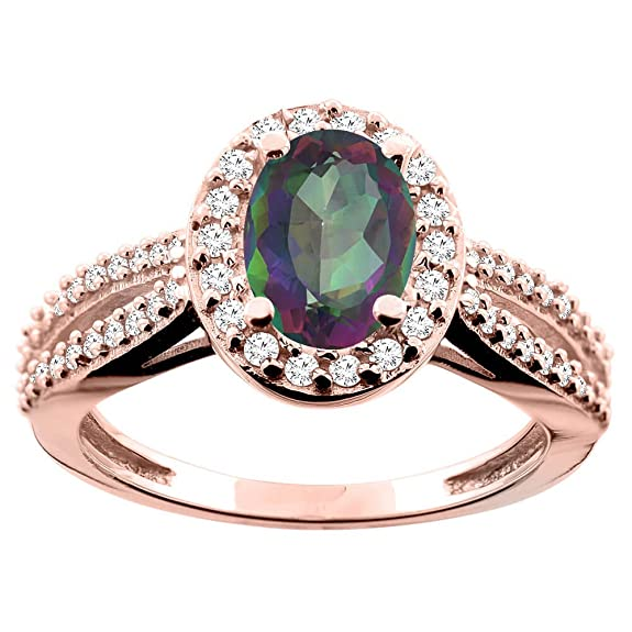 14ct Rose Gold Natural Mystic Topaz Ring Oval 8x6mm Diamond Accent 7/16 inch wide, size P