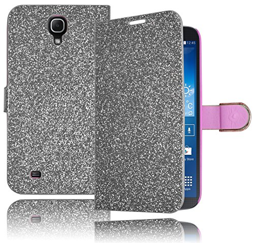 Bastex Hybrid Silver Glitter Leather Wallet Flip Case Defender Pu Cover For Samsung Galaxy Mega 6.3 I527 front-621982