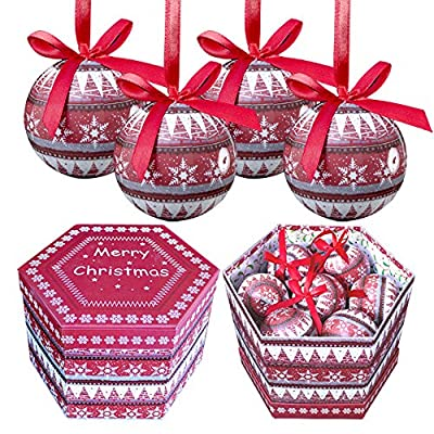 The Christmas Workshop 14-Piece Nordic Design Baubles, Red 75 mm
