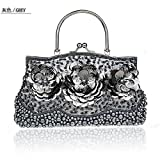 2016 New Womens Beading Evening Bags Elegant Ladies Handbags Sequined Party Wedding Purses Handmade Flowers Day Clutches (Gray)