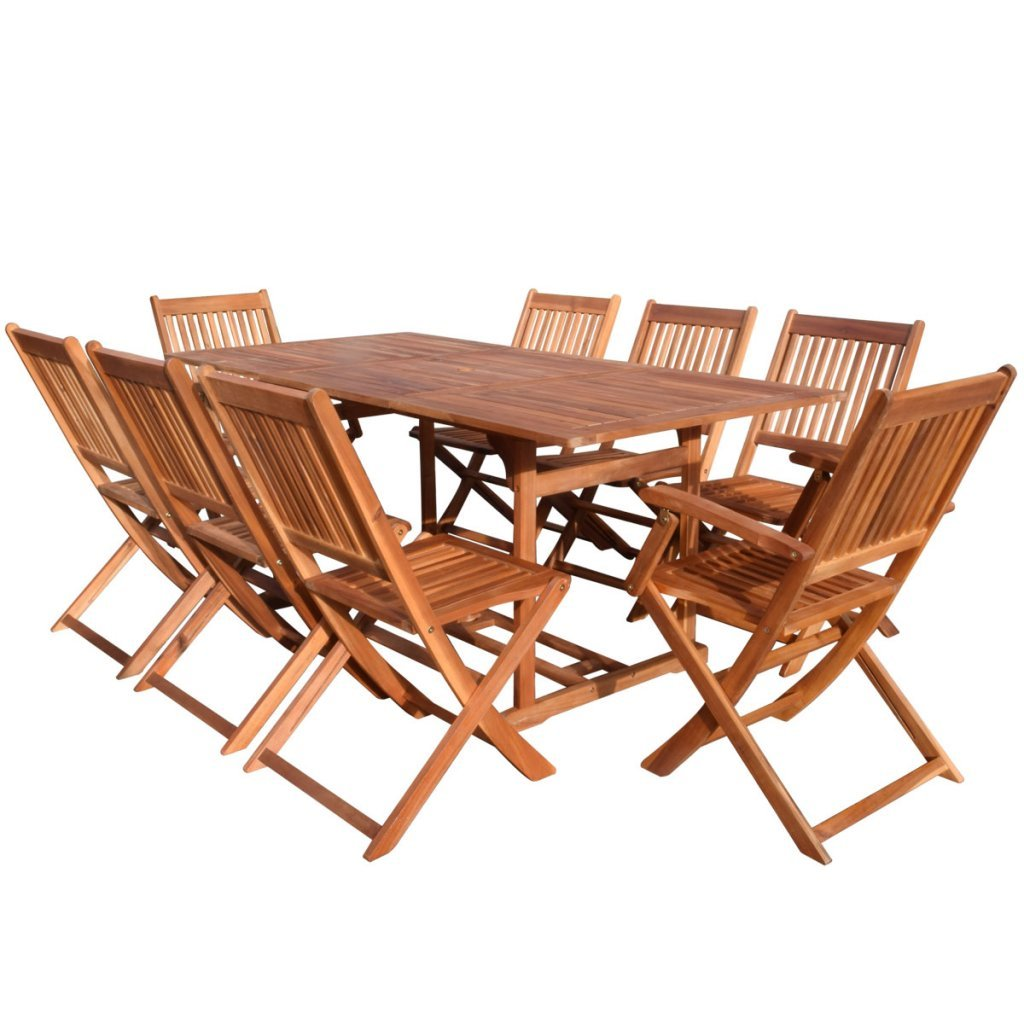 Festnight 9 Pieces Folding Outdoor Patio Dining Set with 8 Chairs, Acacia Wood
