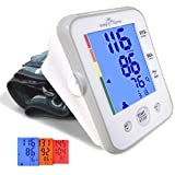 (Large Cuff) Easy@Home Digital Upper Arm Blood Pressure Monitor (BP Monitor) with 3-Color Hypertension Backlit display and Pulse Meter-FDA approved for OTC, IHB Indicator, 2 User Mode, 2 Year Warranty (Tamaño: Large Cuff BPM (8.67-16.5 inch / 22-42 cm))