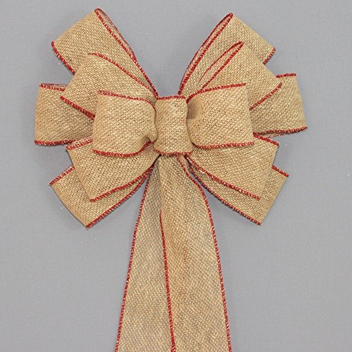 Burlap with Red Edge Christmas Bow