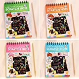 4Pack IFFree Scratch & Sketch Art Note Pads, Scratch Art Rainbow Mini Notes With Stylus Scratch Paper 10 Pages, Small Size.(Four Colours, with four Stylus and Style is random)