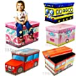Kids Childrens Large Storage Seat Stool Toy Books Clothes Box Chest Train Fire Engine Pink Bus or Safari Animals (Train)