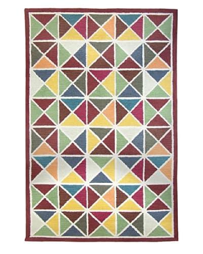 Tottenham Court Triangle Brick Wool Hook Rug, Red Multi, 5' x 8'