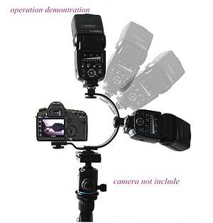 Inseesi C-Shaped Flash Bracket Two Hotshoe 2 Tripod Screws LED Video Light DSLR Camera Camcorder