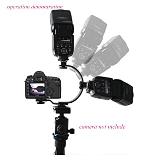 Inseesi C-Shaped Flash Bracket Two Hotshoe 2 Tripod Screws LED Video Light DSLR Camera Camcorder