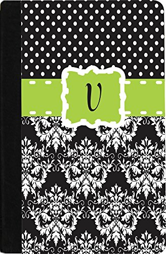 "Rikki Knighttm Rikki Knight Initial ""V"" Blue Black Damask Dots Monogrammed Design Kindle® Firetm Notebook Case Black Faux Leather (Not For Kindle Fire Hd) front-618191"