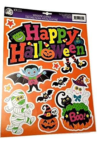 Happy Halloween Window Clings Stickers Bat Toddlers Kids Jack O Lantern Scary Spooky Creepy Turkey Harvest Halloween Party Indoor Outdoor Decoration Decorations Decor Haunted House (Homemade Halloween Makeup Zombie)