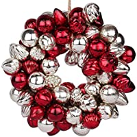 EarthenMetal Handcrafted Multicoloured (Red, & Silver) Decorative Glass Ball Ring (Set Of 120 Glass Balls / Rings)