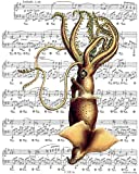 11x14 Victorian Era Art, Giant Squid, Kraken (Original 1800's Illustration) - Giclee Print on Sheet Music Artwork. Sized 11x14 (KM11x14)