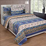 BeautifulHOMES Glory Cotton Double Bedsheet With 2 Pillow Cover - Beige and Blue