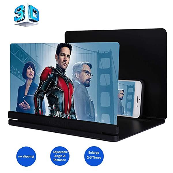 3D Phone Screen Magnifier, HD Smart Phone Screen Enlarger Movie Amplifier Projector Foldable Cell Phone Holder Stand for iPhone Samsung Galaxy S7 and All Other Mobile Phones