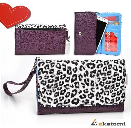 [M-Metro Safari] White Leopard & Purple | Women'S Wallet Wrist-Let Clutch Fits Htc Evo 4G Lte Phone Case. Bonus Ekatomi Screen Cleaner front-1058873