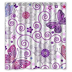 Custom Waterproof Fabric Bathroom Purple Butterfly With Floral Shower Curtain 66 X