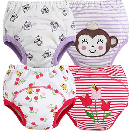 MOM & BAB Toddler Training Pants/Underwear. Water-resistent|Best Quality|Machine Washes Out Well|Soft Cotton|Comfortable Fit|3 layers|4 Different Limited Design Patterns/Set (Medium, Monkey/Flower) (Potty Training Girls Chart compare prices)