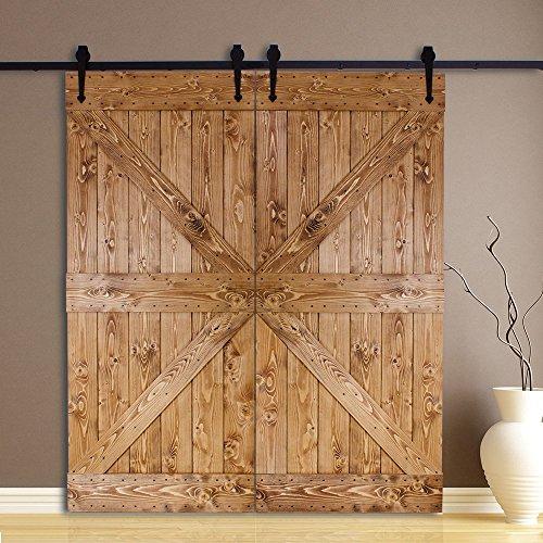 Ccjh Country Classic Steel Heart Style Interior Double Sliding Barn Door Hardware Wood Door Kit