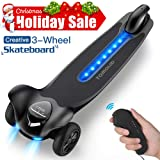 TOMOLOO Electric Skateboard with Remote Controller, 3-Wheel All Terrain Longboard 15.5 MPH Top Speed, 265 lbs Max Load with LED Night Lights … (Color: H3-Black)