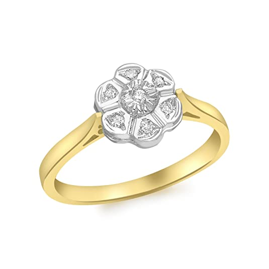 Carissima Gold 9ct Yellow Gold Diamond Flower Ring