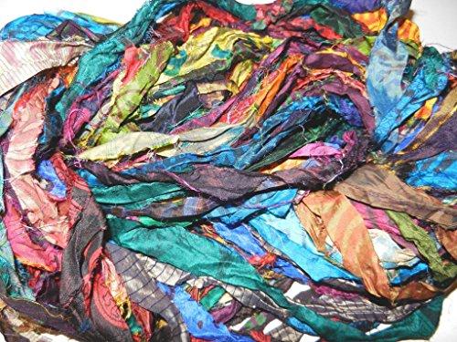 Sari Pure Silk 100g Ribbon Yarn Tie Dye Blue Multi -Recycled