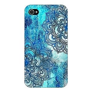 Jugaaduu Blue Floral Doodle Pattern Back Cover Case For Apple iPhone 4