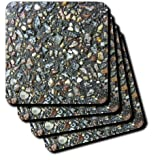 cst_46587_1 Florene Designer Texture - Colored Stones In Black Concrete - Coasters - set of 4 Coasters - Soft