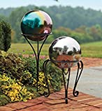 "Plow & Hearth Garden Gazing Ball Holder In-Ground Stake- Powder Coated Iron - Black - 24""H"